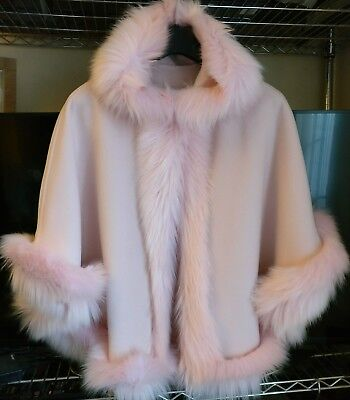 Pink Kids Girls Fluffy Faux Fur Hooded Winter Cape Coat Poncho Size Xl 11-12 Yrs