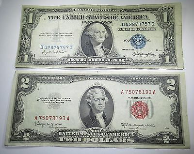 1953 U.S. Two Dollar Bill 1935 US 1 Silver Certificate Antique Currency 2 Notes