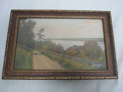 Signed Charles Sawyer Dirt Road Lakeside In Fall Hand Tinted Framed Photograph