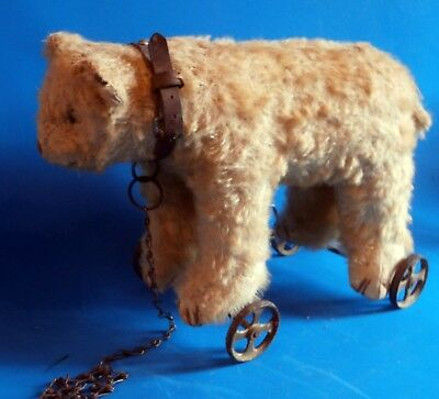 """SUBLIME RARE c1900 French F.AD.A.P teddy polar Bear on wheel Pull Toy button 11"""""""