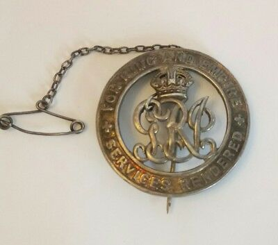 Ww1 British Military Silver Wound War Badge With Brooch Chain Number B305572