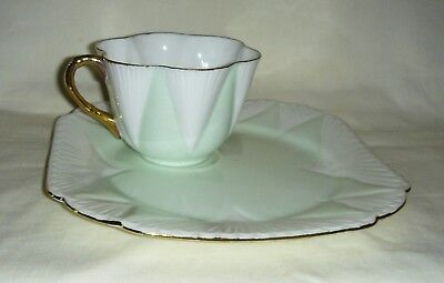 Rare Vintage Shelley Dainty Green, White & Gold Gilded Cup & Saucer (Tv Set)