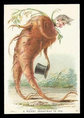 U75 - Anthropomorphic Carrot Man With Tophat - Victorian Xmas Card - H.r.l.