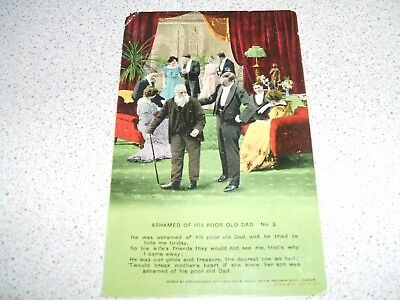POSTCARD - Ashamed of Poor Old Dad No. 2 - 1913 - Humour / Sayings