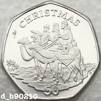 2001 Fifty Pence 50p Gibraltar Coin Christmas 3 Wise Men On Camels Rare UNC