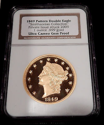 1849 Pattern Double Eagle Gold Smithsonian Issue  NGC Ultra Cameo Gem Proof