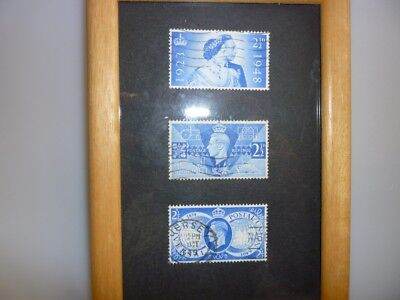 3 x George VI 8 old postage stamps framed picture