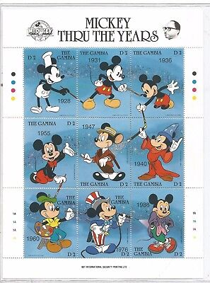 1989 Gambia Sheet of 9 Mickey Mouse  stamps - COA