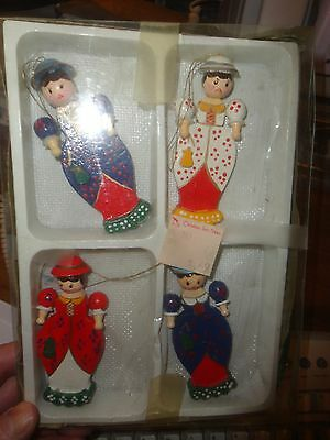 Victorian Looking Woman Wooden Xmas Tree Shop Ornaments,  Set Of 4 Different