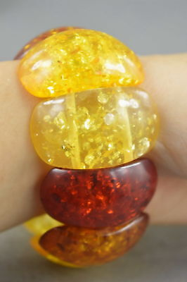 Collectable Handmade Decorative Amber Carving Inner Petals Bead Lucky Bracelet
