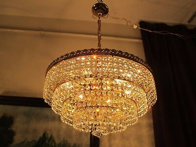 Antique RARE BIG Austrian Real Swarovski Crystal Chandelier Light 1940's 18 in,.