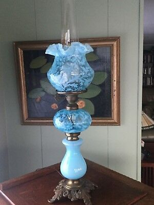 Fenton Gone With The Wind Lamp, Ice Blue Daisy and Fern Pattern 21""