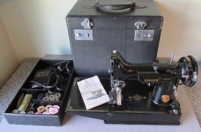 Vintage 1941 Singer 221-1 Featherweight Sewing Machine with Case and More ~JR046