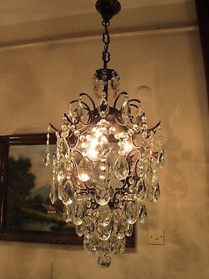 Antique Vintage HUGE Cage Style Crystal Chandelier Light Lamp 1940's 15 in..