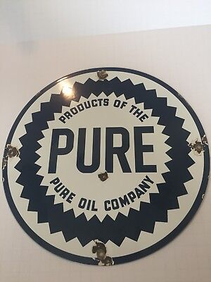 Vintage Pure Oil Company Porcelain Sign 12inch Diameter