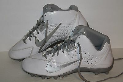 Nike Speed Lax 4 Lacrosse Cleats, #616297-100, White/Silver/Grey, Men's Size 12