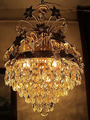 Antique.Vnt.FRENCH 24K Gold plated REAL Swarovski Crystal Chandelier Light RARE.