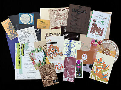 24 pieces Vintage Hawaiian Ephemera: 19 Menus, 2 Table Cards, 2 Photos, 1 invite