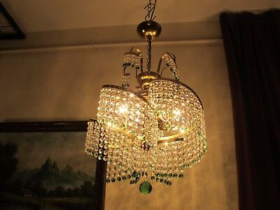 Antique Vintage  French Spiral Style Crystal Chandelier Lamp 1960's.17 in