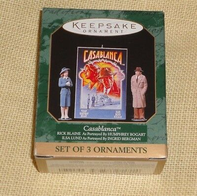 HALLMARK KEEPSAKE ORNAMENT ~ CASABLANCA ~ BOGART  BERGMAN ~ SET of 3 ~ 1997 *NEW