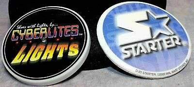 2 Pinback Buttons STARTER Shoes & CYBERLITES Shoes (lights up)