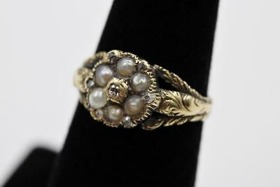 Georgian 7 Rose Cut Diamond & 6 Pearls Edwardian Solid Gold Engraved Flower Ring