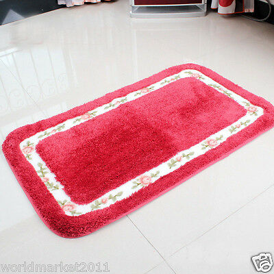 Simple Microfiber Thickened Non-Slip Bathroom Absorbent Mat Red