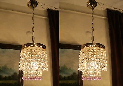 PAIR  Antique VNT.Small French swarovski Crystal Chandelier Lamp 1960's.6 in