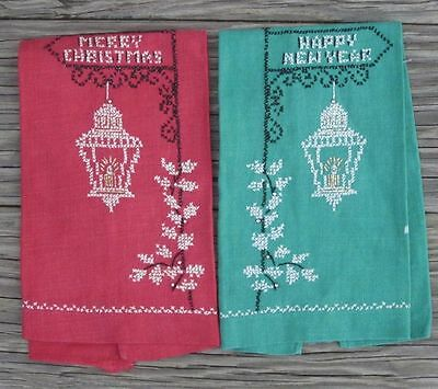 ANTIQUE CROSS STITCH MERRY CHRISTMAS HAPPY NEW YEAR LINEN DISH TOWEL SET of 2