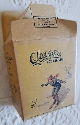 1923 Chase's Ice Cream Container Provo Utah One Half Pint Menasha Wisconsin