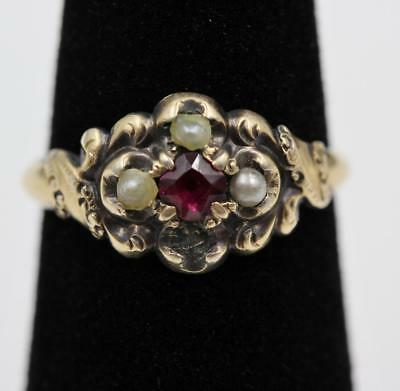 Georgian Victorian Era Yellow Gold Pearl Red Stone Fancy Engraved Ring to Repair