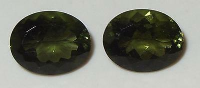 4.35ct Pair Faceted TOP QUALITY Natural Czechoslovakia Moldavite Oval Cut 10x8mm