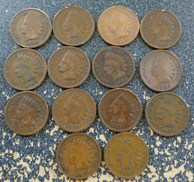 United States - Group of 14 Well Circulated Indian Head Cents, IHC, KM# 90a
