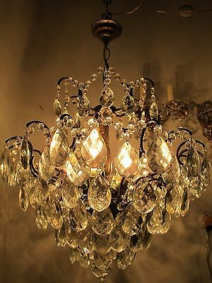 Antique Vnt. French HUGE SPIDER Style Crystal Chandelier Lamp Light 1940's 19 in