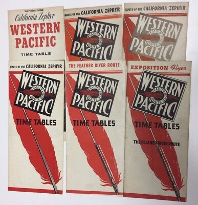 6 Piece Western Pacific Railroad Timetable Collection
