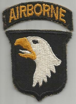 WW 2 US Army 101st Airborne Division White Tongue Patch & Tab Inv# H734