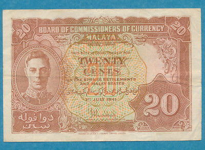 Board of Commissioners of Currency Malaya  20 cents 1941 P-9a