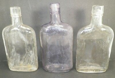 Lot Of 3 Vintage Liquor Bottles Clear And Amethyst  -505