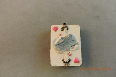 Antique Queen Of Hearts German Celluloid Sewing Tape Measure Playing Card Deck