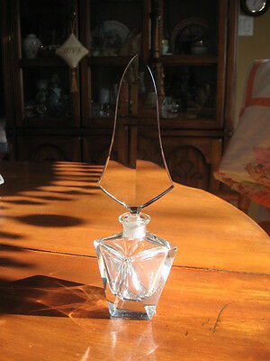 """collectible crystal bottle clear glass 10.5"""" in tall"""