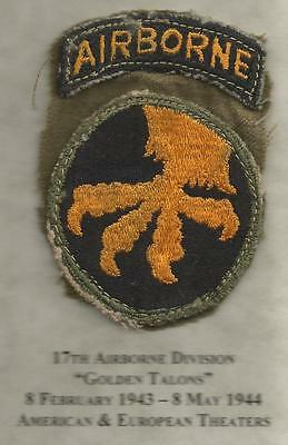 US Army WW 2 17th Airborne Division Patch &Tab Inv# JR23