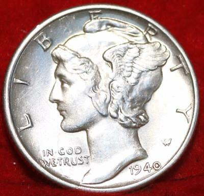 Uncirculated 1940-D Denver Mint Silver Mercury Dime Free Shipping