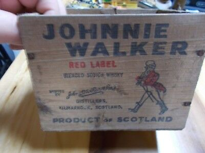 Vintage Johnnie Walker Red Label Scotch Whiskey Wood Box Crate 1/10 Airline Size