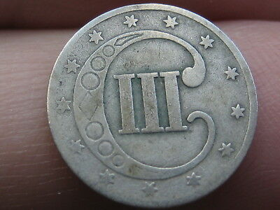 1851 Three 3 Cent Silver Trime- Good/VG Details