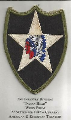 WW 2 US Army 2nd Infantry Division OD Border Patch Inv# JR2