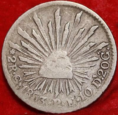 1853 Mexico 2 Reales Silver Foreign Coin Free S/H