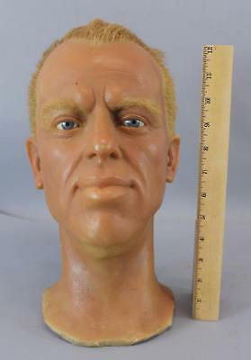 Vintage Professional Wax Sculpted, Life Size Mans Head, Glass Eyes, Real Hair