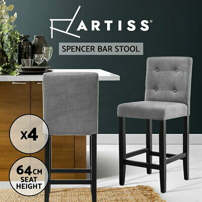 4x Bar Stool Wooden Barstool Rubber Wood Fabric Chair Timber Dining Cafe Grey