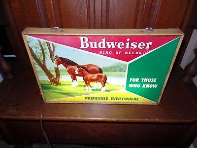 Vintage 1950's BUDWEISER Electric LIGHTED SIGN w/CLYDESDALE HORSES King of Beers