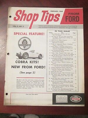 Feb 1964 Ford Cobra Shop Tips From Ford New 4V / 289 Hp Engine Intro Bulletin